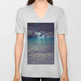 Teal Blue Waterfall Cove Unisex V-Neck