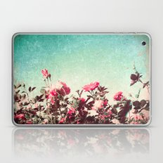 Pink roses on textured blue sky (vintage nature photography) Laptop & iPad Skin