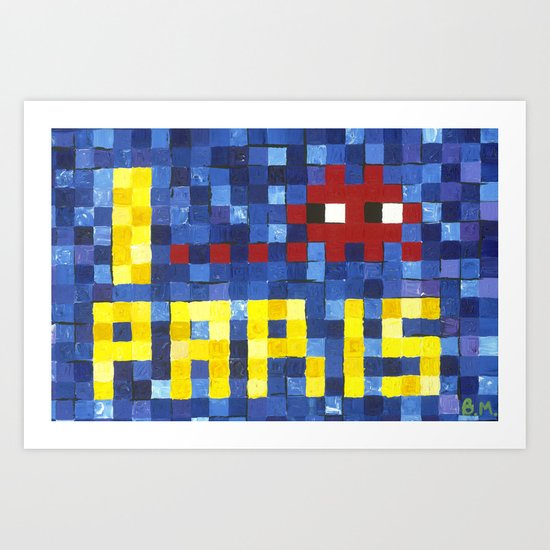 I Space Invader Paris Art Print