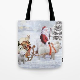 Great Pyrenes and Santa Tote Bag