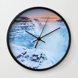 Frozen Gullfoss Falls in Iceland in winter at sunset Wall Clock