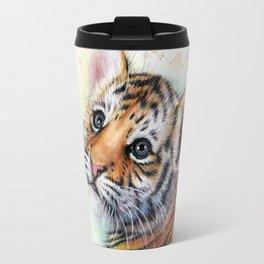 Tiger Cub Watercolor Cute Baby Animals Travel Mug
