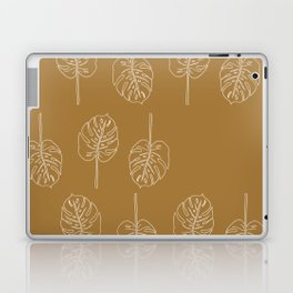 Minimal Mustard Monstera Pattern Laptop & iPad Skin