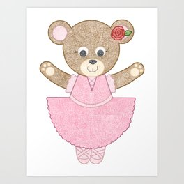 Ballerina Bear Art Print
