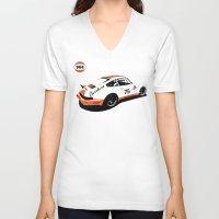 porsche V-neck T-shirts featuring Porsche 964 by Carrture