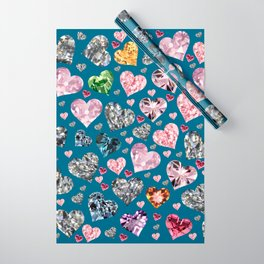 Heart Diamonds are Forever Love Blue Wrapping Paper
