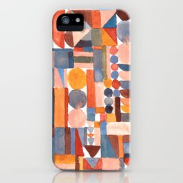 Stacked geometrics in peach and blue iPhone Case