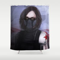 winter soldier Shower Curtains featuring Jemma the sinter soldier.  by tantoun