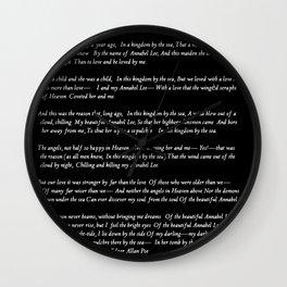 Annabel Lee Edgar Allan Poe black Classic Poem Wall Clock