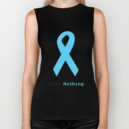 Fear Nothing: Light Blue Ribbon Awareness Biker Tank
