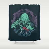 kraken Shower Curtains featuring The Kraken. by Jorge Tirado