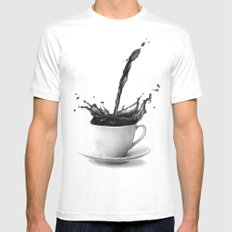 Coffee MEDIUM Mens Fitted Tee White