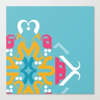 arabic Canvas Prints featuring Blue Arabic by Farah Saheb