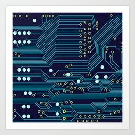Dark Circuit Board Art Print