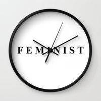 feminist Wall Clocks featuring Feminist by I Love Decor