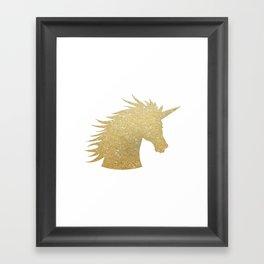Gold Glitter Unicorn Framed Art Print
