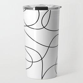 Minimal Black and White Abstract Line Travel Mug
