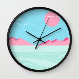 Current - memphis throwback retro colorful tropical abstract sunset sunrise west coast socal Wall Clock