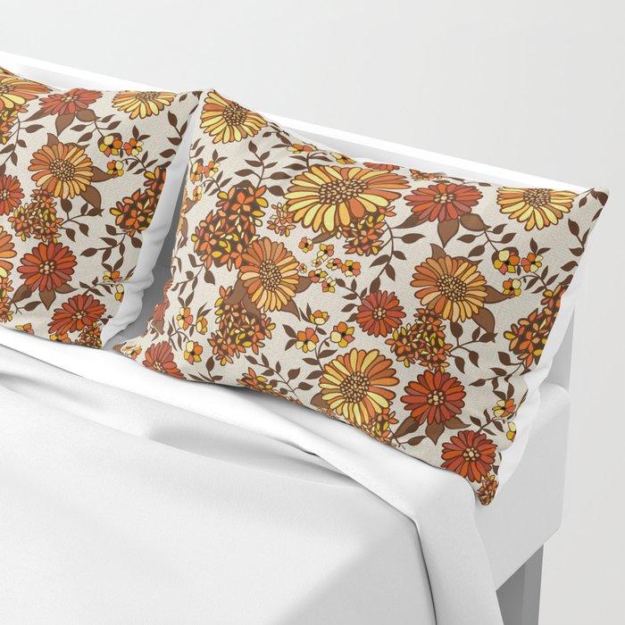 Retro 70s boho hippie orange flower power Pillow Sham