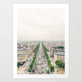 Aerial view of the Champs-Élysées in Paris, France Art Print