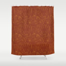 African Animal Mudcloth in Rust + Ochre Shower Curtain