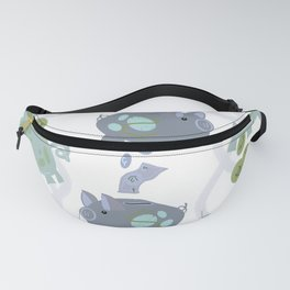 Silly Piggie, Dollars Make Cents - Blue & Green Fanny Pack