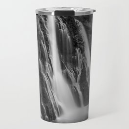 Burney Falls in Black and White Travel Mug