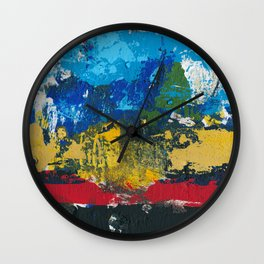 Lucas Abstract Painting Blue Black Yellow Wall Clock