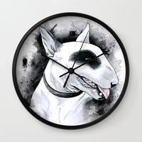 bull terrier Wall Clocks featuring Bull Terrier by kitara