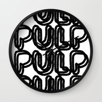 pulp Wall Clocks featuring Pulp  by Kate Lowe