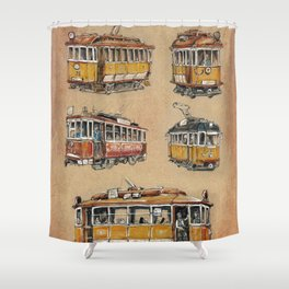 Old vintage yelow trams -nostagic pubic transport Shower Curtain