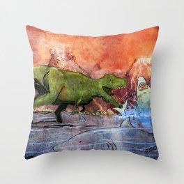 T-Rex vs Sharks Throw Pillow