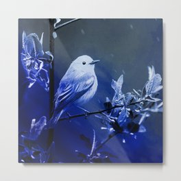 canary blue photochrom tinted aesthetic botanical art altered photography Metal Print