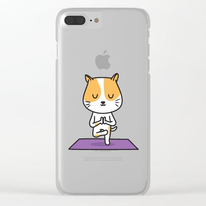 Yoga Cat Clear iPhone Case