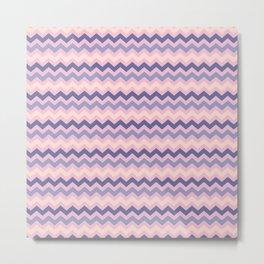 Pink blue violet ivory geometrical zigzag pattern Metal Print