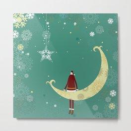Santa and moon Metal Print
