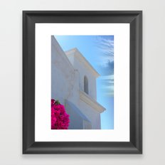 Architectural Detail of White Stucco Colonial Church in Arizona Framed Art Print