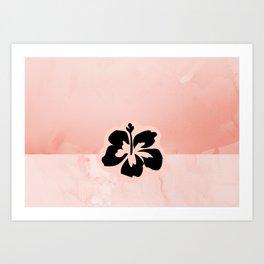 Black flower on pink background Art Print