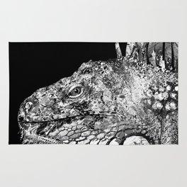 Black And White Iguana Art - One Cool Dude 2 - Sharon Cummings Rug