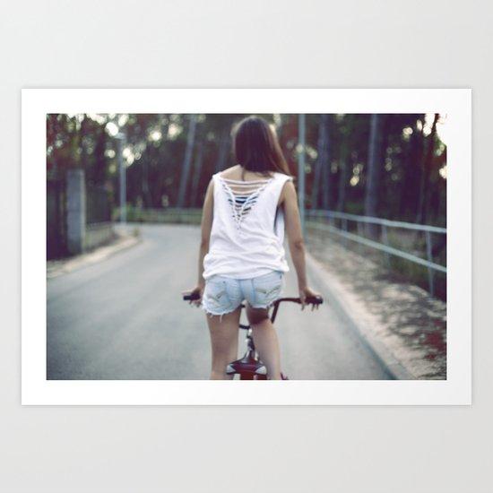 Biker girl Art Print