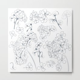 Hand drawn vector geranium flowers  Metal Print