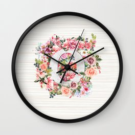 Initial Letter O Watercolor Flower Wall Clock