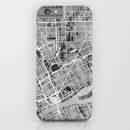Detroit Michigan City Map iPhone Case