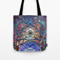 shiva Tote Bags featuring Space Shiva by BradButler