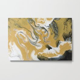 Gold Black & White Abstract Art I Metal Print