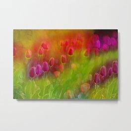 Tulips in the Garden Metal Print