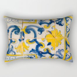 Portuguese azulejos, city of Ericeira Rectangular Pillow