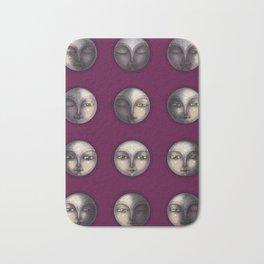 moon phases on dark purple Bath Mat