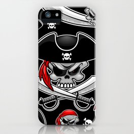 Skull Pirate Captain with Crossed Sabers iPhone Case