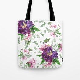 Purple tulips, anemones and eucalyptus Tote Bag